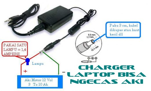 Charger Laptop Bekas untuk Cas Aki Motor